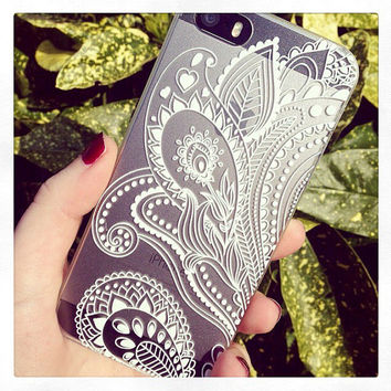 White Henna Swirl Floral Print See Through Clear iPhone 5 5S Hipster Phone Case