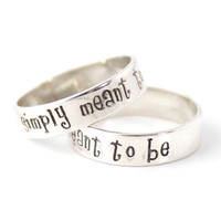 Nightmare Before Christmas Rings - Simply Meant to Be - Pair of Solid Sterling Silver His and Hers Wedding Bands