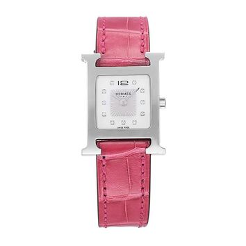 "Hermes ""Heure H"" Watch 21 x 21 mm smooth raspberry alligator leather strap"
