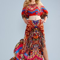 Parides Heritage Skirt and Crop Top Set - Red