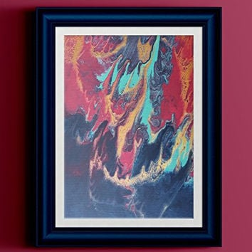 """Red Gold Teal Navy Abstract Fluid Painting Fine Art Print // """"Hydra"""""""