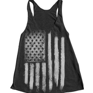 AMERICAN FLAG Tank Top American Apparel Triblend Racerback Tank Top Hand Screen Printed