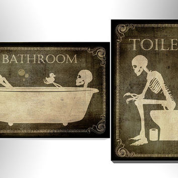 Toilet And Bathroom Signes,art,skull,skeleton,gothic,goth,funny