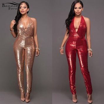 Women Sexy Halter Plunging V Neck Sleeveless Jumpsuit Fashion Open Back Glitter Sequined Party Nightclub Jumpsuit Female Catsuit