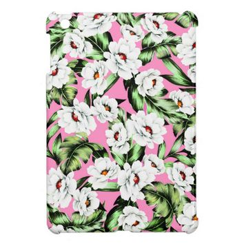 Pink Green Floral Background iPad Mini Cases