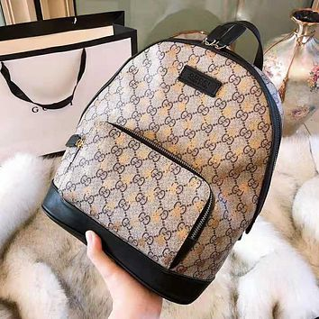 GUCCI High Quality Stylish Woman Men Leather Bee Print Travel Bookbag Shoulder Bag Backpack