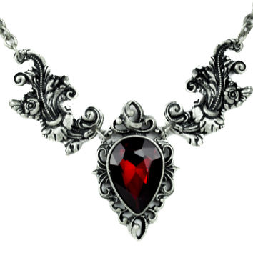 Ivy Leaf Red Stone Gothic Victorian Style Necklace Deathrock Pendant