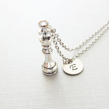Chess Necklace, King Chess Charm, Chess Piece, Chess Player,Friend Gift, Silver Jewelry, Personalized, Monogram, Hand Stamped Letter Initial