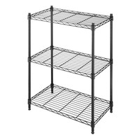 Small 3-Shelf Storage Rack Shelving Unit in Black Metal with Adjustable Leveling Feet