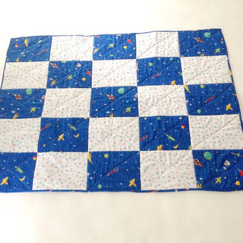 Darling Baby Quilt or Nursery Wall Hanging-  Blue and White with Outer Space Theme