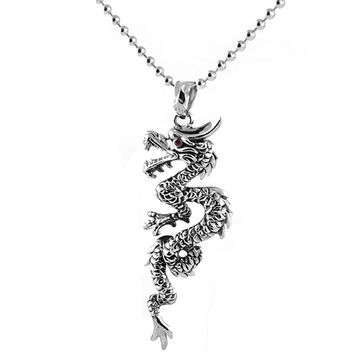 Red Eye Dragon Pendant Stainless Steel Necklace