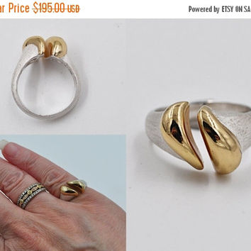 ON SALE Vintage Christian Dior Germany Modernist Ring, Sterling Silver, Gold Vermeil, Textured, Abstract, Mod, Rare and Fabulous! #b541