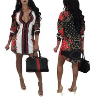 ***HOT ITEM***Printed Fashion Long Sleeve Slip Dress
