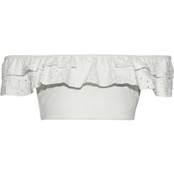 Embroidered ruffle-trimmed bikini top | JONATHAN SIMKHAI | Sale up to 70% off | THE OUTNET