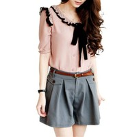 Women Self Tie Bowknot Flouncing Embellished Single Breasted Shirt
