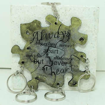 Friendship Set of 5 Best Friend Key chains Always together saying Citrine and Gunmetal Leather Made To Order