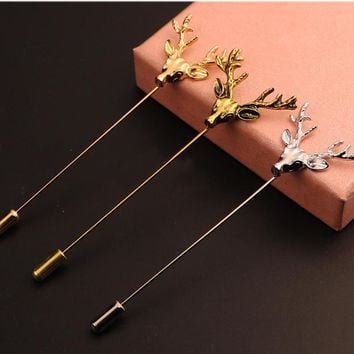 Vintage Cute Charm Christmas Deer Pins Brooch For Women New Year Gift Men Trendy Lapel Collar Brooches Pin Jewelry Accessories