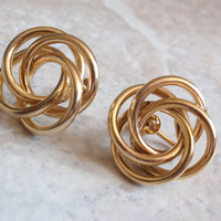 Love Knot Earrings Ronci Gold Filled Screw Back Mobius Birds Nest Atomic Vintage V0938L