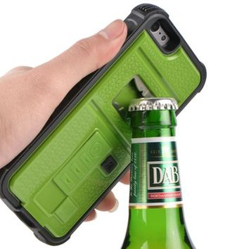 Newly High Quality ZVE® Multifunctional Cigarette Lighter Cover for iPhone 6 Built-in Cigarette Lighter/bottle Opener/ Camera Stable Tripod Case (Green)
