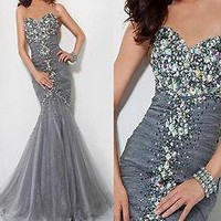 Shinning Strapless Grey Bridal Wedding Party Prom Evening Gown Dress