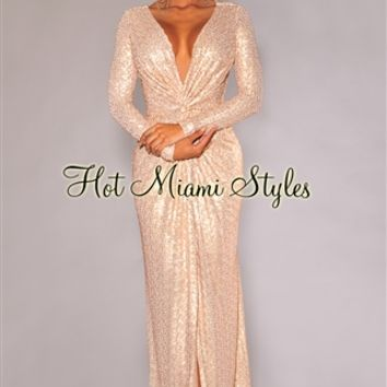 Champagne Sequined Knotted Front Gown