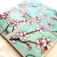 Cherry Blossom Coaster Pink Turquoise Flower Tile by QueenOfDeTile