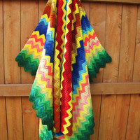 colorful vintage handmade blanket. bright colors. chevron. autumn decor. afghan. lap blanket