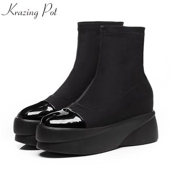 Krazing Pot genuine leather flock lycra basic boots platform punk rock designer round toe slip on lady stretch ankle boots L19