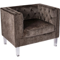 Valentina Contemporary Accent Chair, Brown Mohair Fabric & Acrylic Legs