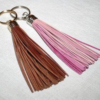 Chestnut Brown Leather Tassel Keychain,Tassel Key Ring with splitring, Funky Big Accessorie, Gift to Mother Sister Wife Daughter