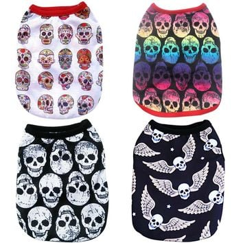 Cool Pet Dog Vest Clothes Cartoon Skull Summer Vest Clothes For Dogs Cat T-shirt Soft Puppy Dogs Clothing Shirt Vests 2XS-5XL 25