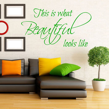 Wall Decal Quote This Is What Beautiful Looks Like Vinyl Stiker Letters Beauty Salon Mural Bedroom Interior Design Living Room Decor KY76