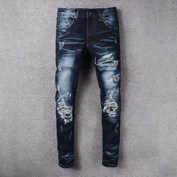 French Style 526Mens Distressed Embellished Ribbed Stretch Moto Pants Biker Jeans Slim Trousers Size 28 42