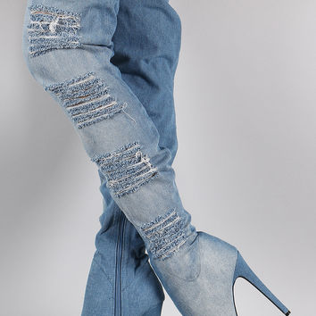 Distressed Denim Almond Toe Over-The-Knee Boots | UrbanOG