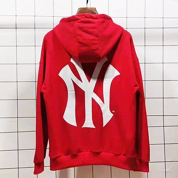 NY Autumn And Winter New Fashion Letter Print Women Men Leisure Hooded Long Sleeve Sweater Red