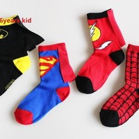 4Pairs/Lot Cotton Kids Socks 4-6T Boys Sport Socks Spiderman Superman Batman The Flash Children's Football Basketball Socks