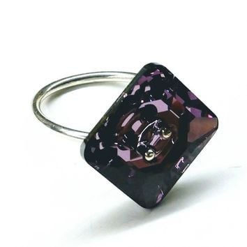 Sterling Silver Large Amethyst Crystal Shank Button Ring