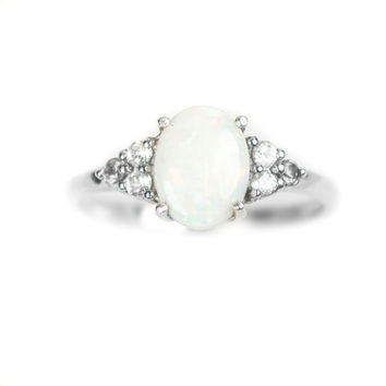 Sterling Silver Genuine Australian Opal And White Topaz Ring
