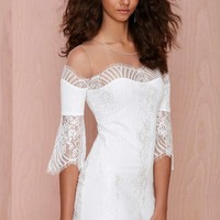 For Love and Lemons Belle Lace Mini Dress - White