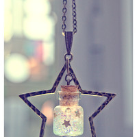 Star glass Bottle Necklace with glitter gel Mini Glass by Vhea