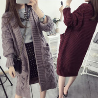 New Design Autumn and Winter Women Plus Size Sweaters Knitted Cardigans Long Design Loose and Big Size Sweaters