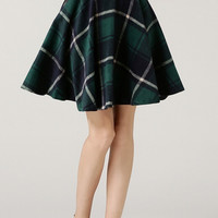 Green Plaid A-Line Skirt
