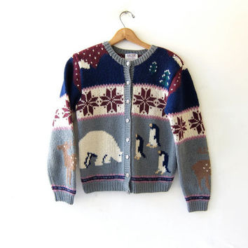 Vintage wool sweater. novelty sweater. Cardigan sweater. Snowflakes Polar Bear Penguin Trees Deer House. Winter sweater.