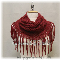 CHIC FRINGE Cranberry scarf fringe scarves knit scarf women fall scarf infinity scarf tube scarves womens scarf Catherine Cole Studio SC5