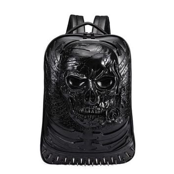 Cool Backpack school 3D Skull Leather Backpack Fashion Men Backpack School Computer Laptop Bags Cool Travel Bags Girls Vintage Rivets Halloween Bags AT_52_3