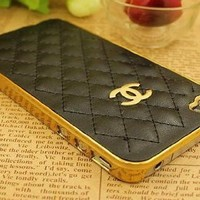 Designer inspired Chanel CC Iphone 5 Leather Case,high quality ,luxury style, Hard back case, black with gold logo and frame.BUY it can get one matched Free 3.5mm diamond Anti dust Ear Cap Dock Plug:Amazon:Electronics