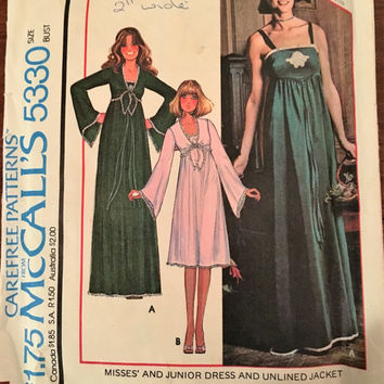 "Vintage McCall's Sewing Pattern 5330 for ""Misses and Junior Dress and Unlined Jacket"" From 1976 / Size 14 Bust 36"