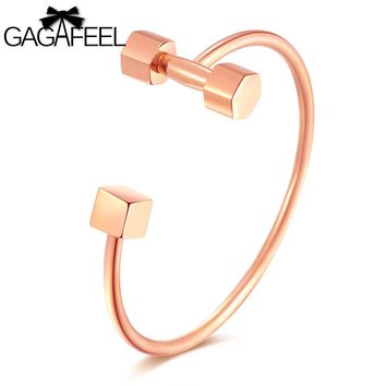 GAGAFEEL Cuff Engrave Women Bracelets Bangles Stainless Steel Rose Gold Color Dumbbel Jewelry