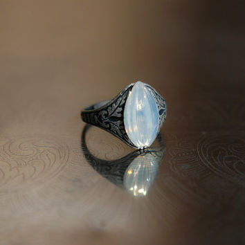 Moonlit petal - adjustable antique silver plated ring with iridescent vintage moonstone glass petal cabochon