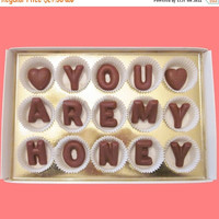You Are My Honey Large Milk Chocolate Letters Distant Love Message Anniversary Valentines Day Gift for Boyfriend Man Him Her Women BF GF